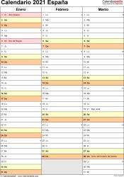 Plantilla 15: calendario 2021 para España en formatos Word, Excel y PDF, vertical, 4 páginas, un trimestre por página