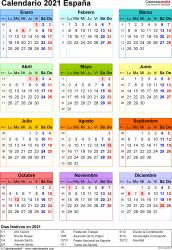Plantilla 16: calendario 2021 para España en formatos Word, Excel y PDF, vertical, 1 página, año en un vistazo, multicolor