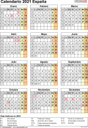 Plantilla 17: calendario 2021 para España en formatos Word, Excel y PDF, vertical, 1 página, año en un vistazo