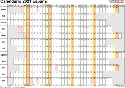 Plantilla 7: calendario 2021 para España en formatos Word, Excel y PDF, horizontal, 1 página, lineal, días alineados