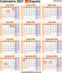 Calendario 2021 España como una imagen en formato PNG