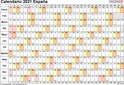 Plantilla 6: calendario 2021 para España en formatos Word, Excel y PDF, horizontal, 1 página, lineal