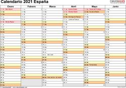 Plantilla 3: calendario 2021 para España en formatos Word, Excel y PDF,