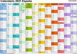Plantilla 1: calendario 2021 para España en formatos Word, Excel y PDF, horizontal, 1 página, multicolor