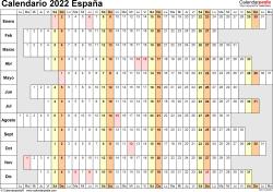 Plantilla 7: calendario 2022 para España en formatos Word, Excel y PDF, horizontal, 1 página, lineal, días alineados