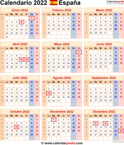 Templates for 2022 calendars for Spain in Microsoft Word format