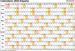Plantilla 6: calendario 2022 para España en formatos Word, Excel y PDF, horizontal, 1 página, lineal