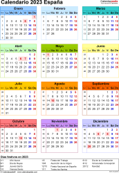 Plantilla 16: calendario 2023 para España en formatos Word, Excel y PDF, vertical, 1 página, año en un vistazo, multicolor