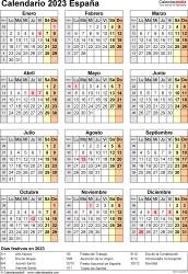 Plantilla 17: calendario 2023 para España en formatos Word, Excel y PDF, vertical, 1 página, año en un vistazo