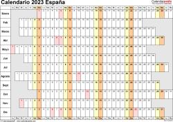 Plantilla 7: calendario 2023 para España en formatos Word, Excel y PDF, horizontal, 1 página, lineal, días alineados