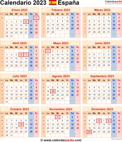Calendario 2023 España como una imagen en formato PNG