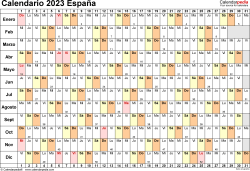 Plantilla 6: calendario 2023 para España en formatos Word, Excel y PDF, horizontal, 1 página, lineal