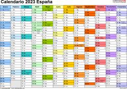Plantilla 1: calendario 2023 para España en formatos Word, Excel y PDF, horizontal, 1 página, multicolor
