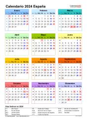 Plantilla 16: calendario 2024 para España en formatos Word, Excel y PDF, vertical, 1 página, año en un vistazo, multicolor