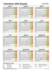 Plantilla 17: calendario 2024 para España en formatos Word, Excel y PDF, vertical, 1 página, año en un vistazo