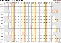 Plantilla 7: calendario 2024 para España en formatos Word, Excel y PDF, horizontal, 1 página, lineal, días alineados