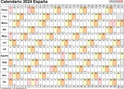 Plantilla 6: calendario 2024 para España en formatos Word, Excel y PDF, horizontal, 1 página, lineal