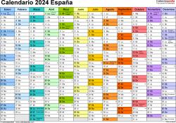 Plantilla 1: calendario 2024 para España en formatos Word, Excel y PDF, horizontal, 1 página, multicolor