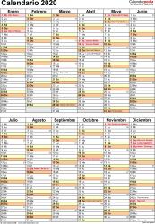 Plantilla 11: calendario 2020 para España en formatos Word, Excel y PDF, vertical, 1 página, dos bloques semestrales