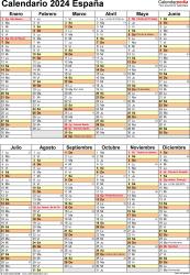 Plantilla 11: calendario 2024 para España en formatos Word, Excel y PDF, vertical, 1 página, dos bloques semestrales