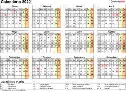 Plantilla 9: calendario 2020 para España en formatos Word, Excel y PDF, horizontal, 1 página, año en un vistazo