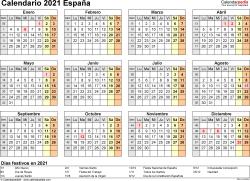 Plantilla 9: calendario 2021 para España en formatos Word, Excel y PDF, horizontal, 1 página, año en un vistazo