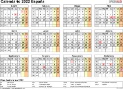 Plantilla 9: calendario 2022 para España en formatos Word, Excel y PDF, horizontal, 1 página, año en un vistazo