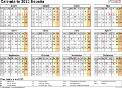 Plantilla 9: calendario 2023 para España en formatos Word, Excel y PDF, horizontal, 1 página, año en un vistazo