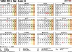 Plantilla 9: calendario 2024 para España en formatos Word, Excel y PDF, horizontal, 1 página, año en un vistazo