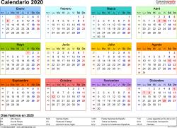 Plantilla 8: calendario 2020 para España en formatos Word, Excel y PDF, horizontal, 1 página, año en un vistazo, multicolor
