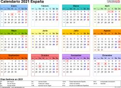 Plantilla 8: calendario 2021 para España en formatos Word, Excel y PDF, horizontal, 1 página, año en un vistazo, multicolor