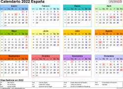 Plantilla 8: calendario 2022 para España en formatos Word, Excel y PDF, horizontal, 1 página, año en un vistazo, multicolor