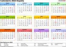 Plantilla 8: calendario 2023 para España en formatos Word, Excel y PDF, horizontal, 1 página, año en un vistazo, multicolor