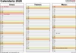Plantilla 5: calendario 2020 para España en formatos Word, Excel y PDF, horizontal, 4 páginas, un trimestre por página