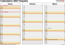 Plantilla 5: calendario 2021 para España en formatos Word, Excel y PDF, horizontal, 4 páginas, un trimestre por página