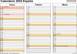 Plantilla 5: calendario 2022 para España en formatos Word, Excel y PDF, horizontal, 4 páginas, un trimestre por página