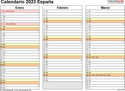 Plantilla 5: calendario 2023 para España en formatos Word, Excel y PDF, horizontal, 4 páginas, un trimestre por página