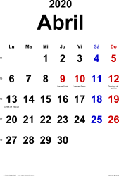 Calendario abril 2020, orientación vertical, clásico, en formatos Word, Excel y PDF