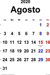 Calendario agosto 2020, orientación vertical, clásico, en formatos Word, Excel y PDF