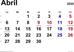Calendario abril 2020, orientación horizontal, clásico, en formatos Word, Excel y PDF