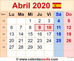 Calendario abril 2020 como una imagen en formato PNG