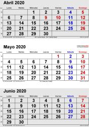 Calendario de 3 meses de abril/mayo/junio 2020 in orientación vertical en formatos Word, Excel y PDF
