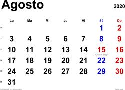 Calendario agosto 2020, orientación horizontal, clásico, en formatos Word, Excel y PDF