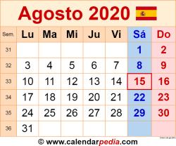 Calendario agosto 2020 como una imagen en formato PNG