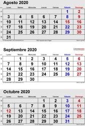 Calendario de 3 meses de agosto/septiembre/octubre 2020 in orientación vertical en formatos Word, Excel y PDF