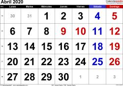Calendario abril 2020, orientación horizontal, grandes cifras, en formatos Word, Excel y PDF