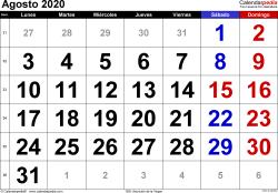Calendario agosto 2020, orientación horizontal, grandes cifras, en formatos Word, Excel y PDF