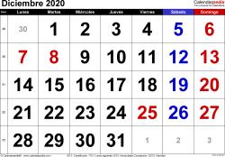Calendario diciembre 2020, orientación horizontal, grandes cifras, en formatos Word, Excel y PDF