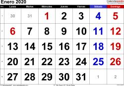Calendario enero 2020, orientación horizontal, grandes cifras, en formatos Word, Excel y PDF