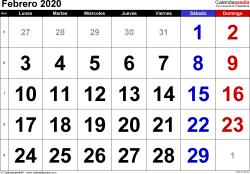 Calendario febrero 2020, orientación horizontal, grandes cifras, en formatos Word, Excel y PDF